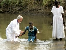 Bishop Andrew Proud in a baptism in Ethiopia