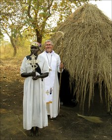 The Bishop before a service in Gambella