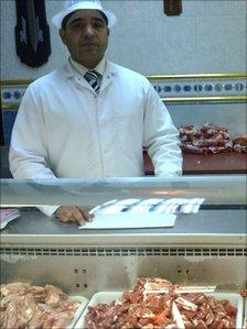 Mehboob Ayub in his butchers shop in Huddersfield