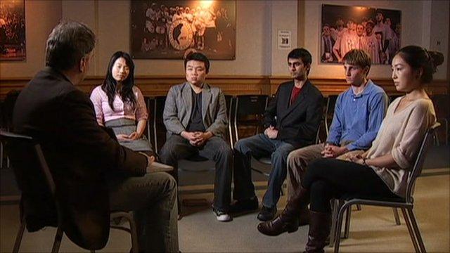 Matt Frei with students from Duke University