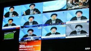 Hassan Nasrallah on screens at al-Manar TV in Beirut, 16 January