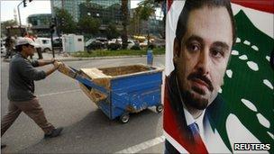 A poster of Saad al-Hariri in Sidon, southern Lebanon