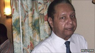 Former Haitian leader Jean-Claude 'Baby Doc' Duvalier is seen in his hotel room in Port-au-Prince on 17 January 2011