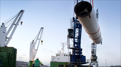 Former Goonhilly wind turbines being loaded on to the Dutch Runner for shipping to Latvia at Falmouth Docks