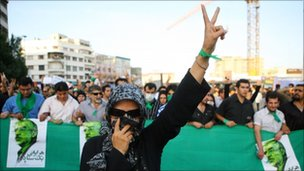Woman demonstrating in Tehran, Iran
