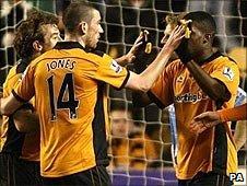Wolves celebrate Geoffrey Mujangi Bia's goal