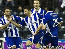 Rui Miguel is congratulated by his Kilmarnock team-mates for his opening goal