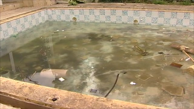A vandalised pool