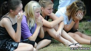 Four girls at funeral for Donna Rice and her 13-year old son Jordan, lost in Queensland's flash floods