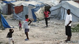 People at a camp outside Port-au-Prince