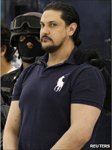 Jose Balderas Garza, suspect in the case of the January 2010 shooting of Paraguayan footballer Salvador Cabanas. Pictured in police custody in Mexico City, 19 January 2011