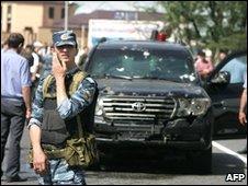 Scene car bombing that wounded regional leader Yunus-Bek Yevkurov in June 2009