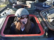 BBC Leicester's Bridget Blair in the Sherman tank