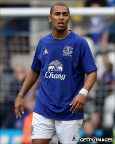 James Vaughan in action for Everton