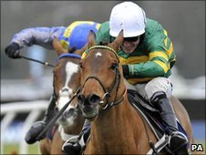 Tony McCoy winning at Kempton last Saturday on Binocular