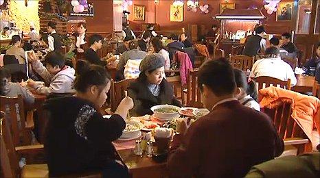 Inside a Hanoi restaurant