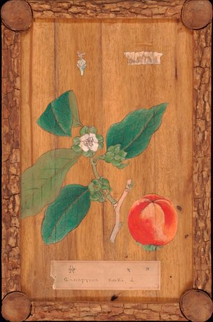 19th century Japanese painted wooden panel