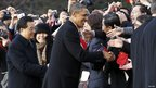 US President Barack Obama and Chinese President Hu Jintao shaking hands with visitors at the White House