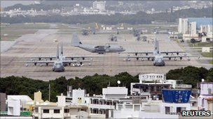 File image of aircraft at Futenma airbase in Okinawa on 17 December 2010