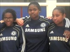 Members of Chelsea's girls' teams