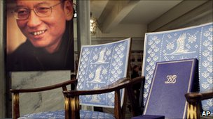 A picture of Liu Xiaobo, next to his empty chair at the Nobel Peace Prize ceremony on 10 December 2010