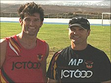 Mark Webber and Bradford Bulls coach Mick Potter
