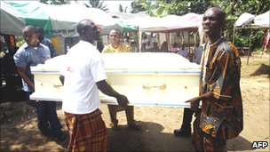 Coffin of one of Ogoni activists killed 10 November 1995