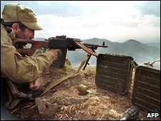 Ethnic Armenian fighter at the front, 1993