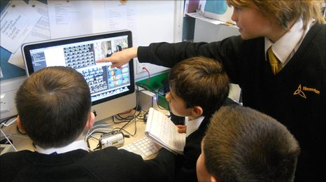 Hounsdown pupils work on editing their video