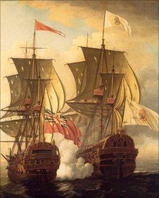 The Capture Of The Nuestra Senora Da Covadonga By The Centurion by John Clevely