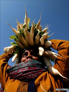 A woman vendor carries white radish for sale at a vegetable market in Jammu, Indian-administered Kashmir, 18 January 2011