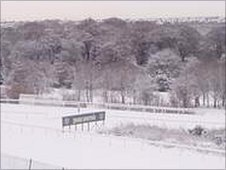 The view of a frosty Hamilton Park racecourse from the school