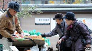 Elderly shoppers in Japan