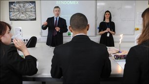 Michael Gove with pupils
