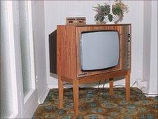 TV set in 1970s sitting room