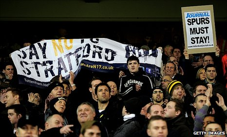 Spurs fans protested against the proposed stadium move at the Manchester United game on Sunday