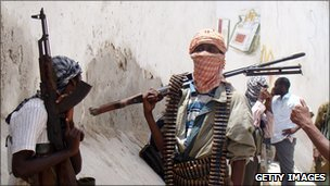 File picture of al-Shabab militia on patrol, 2009