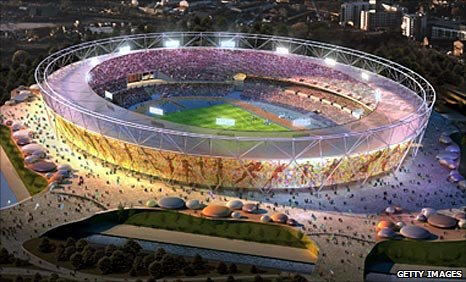 An architect's vision of how London's Olympic stadium will look in 2012