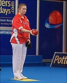 Alison Merrien in the ladies singles final at the World Indoor Bowls Championships