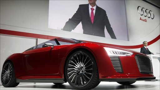 Audi AG Chairman Stadler speaks next to Audi e-tron Spyder concept car