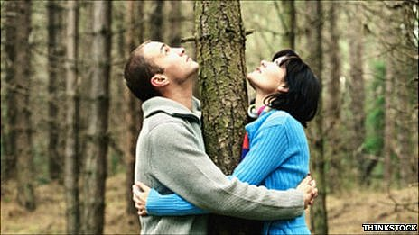 Couple hugging a tree