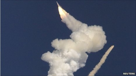 The GSLV rocket explodes in midair on 25 December 2010