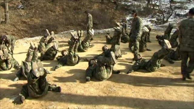South Korean students in boot camp