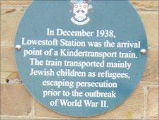 Kindertransport plaque at Lowestoft railway station