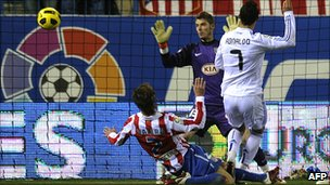 Cristiano Ronaldo scores the only goal of the Atletico Madrid v Real Madrid game