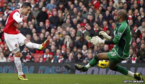 Robin van Persie (left) puts Arsenal ahead