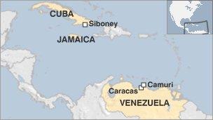Map of Cuba, Venezuela