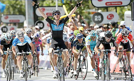 Ben Swift celebrates as he wins the final stage of the Tour Down Under