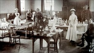 Shepreth village hall during World War I, when it was run as a temporary military hospital