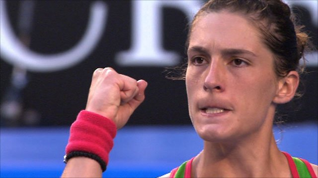 Andrea Petkovic on her way to defeating Maria Sharapova